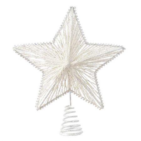 Κορυφή Χριστουγεννιάτικου δέντρου αστέρι με glitter Λευκό 21,5x25cm