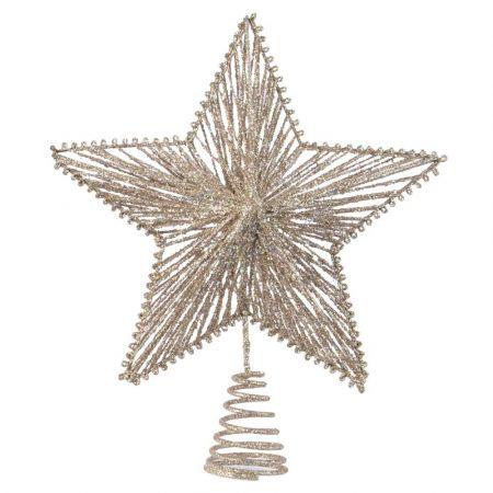 Κορυφή Χριστουγεννιάτικου δέντρου αστέρι με glitter Σαμπανί 21,5x25cm