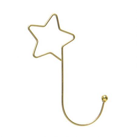 Σετ 12τχ μεταλλικά Γαντζάκια - Αστέρι για στολίδια και μπάλες Χρυσά