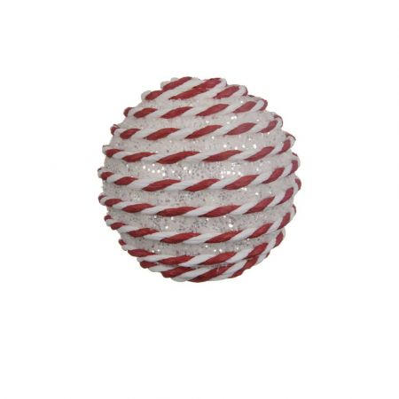 Χριστουγεννιάτικη μπάλα με glitter Κόκκινη - Λευκή 8cm