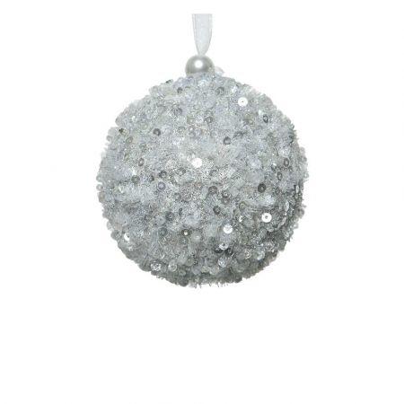 Χριστουγεννιάτικη μπάλα με glitter και παγιέτες Ασημί 8cm