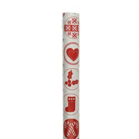 Χαρτί περιτυλίγματος Καρδιά - Κάλτσα Λευκό - Κόκκινο 70x200cm
