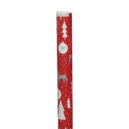 Χαρτί περιτυλίγματος Με Τάρανδο Κόκκινο - Λευκό 70x200cm