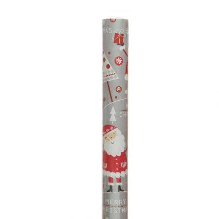 Χαρτί περιτυλίγματος Με Άγιο Βασίλη Γκρι - Κόκκινο 70x200cm