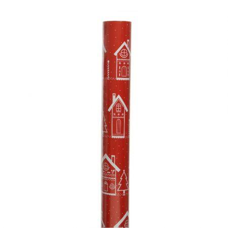 Χαρτί περιτυλίγματος Με Σπιτάκι Κόκκινο - Λευκό 70x200cm