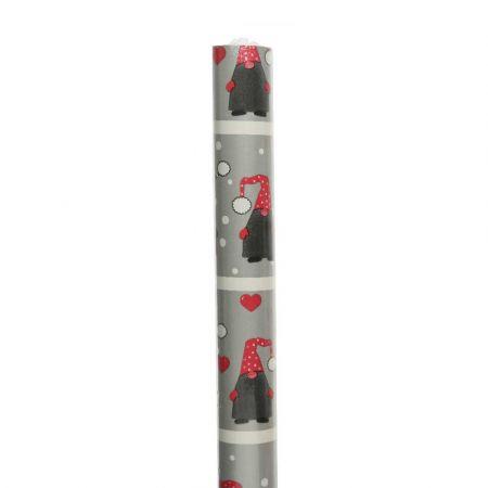 Χαρτί περιτυλίγματος Με Ξωτικό Γκρι - Κόκκινο 70x200cm