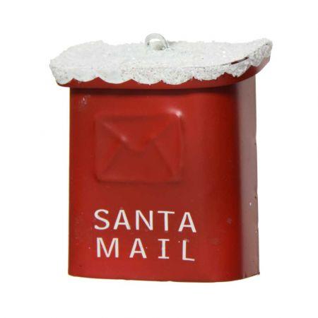 Μεταλλικό Χριστουγεννιάτικο στολίδι γραμματοκιβώτιο Santa Mail Κόκκινο - Λευκό 5,6x2,3x6,10cm