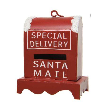 Μεταλλικό Χριστουγεννιάτικο στολίδι γραμματοκιβώτιο Special Delivery - Λευκό 5,6x2,3x6,10cm