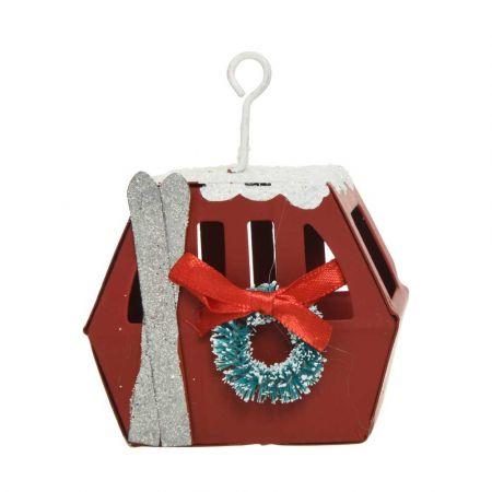 Μεταλλικό Χριστουγεννιάτικο στολίδι Τελεφερίκ Κόκκινο 4,5x7x8,8cm