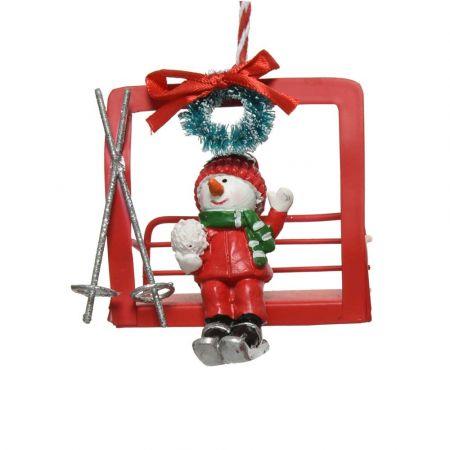 Μεταλλικό Χριστουγεννιάτικο στολίδι Lift με Χιονάνθρωπο Κόκκινο 8,4x5,5x8cm