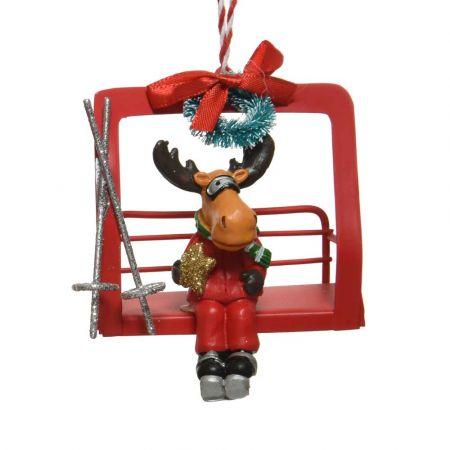Μεταλλικό Χριστουγεννιάτικο στολίδι Lift με Τάρανδο Κόκκινο 8,4x5,5x8cm