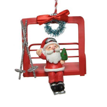 Μεταλλικό Χριστουγεννιάτικο στολίδι Lift με Άγιο Βασίλη Κόκκινο 8,4x5,5x8cm