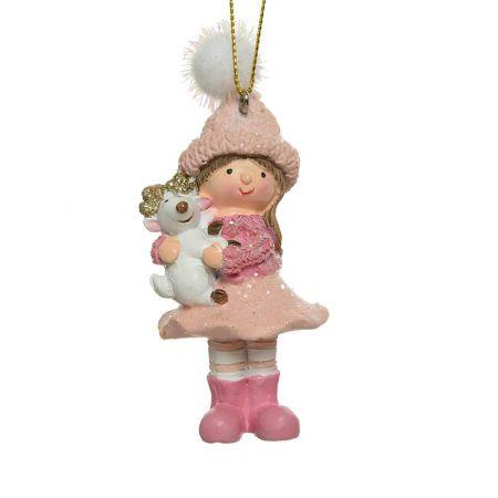 Στολίδι Χριστουγεννιάτικου δέντρου Κοριτσάκι Polyresin Ροζ 5x4x7cm (01)