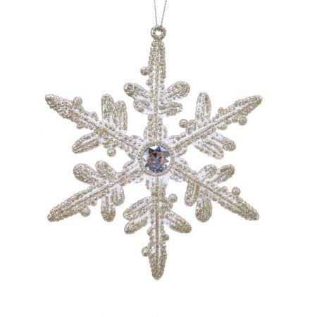 Χριστουγεννιάτικο στολίδι χιονονιφάδα με glitter Σαμπανί 12x14cm