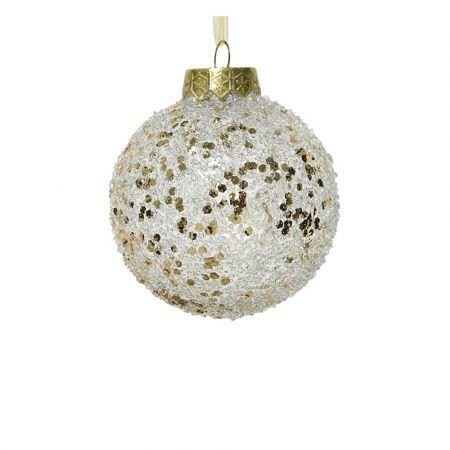 Χριστουγεννιάτικη μπάλα με glitter Διάφανη - Σαμπανί 8cm