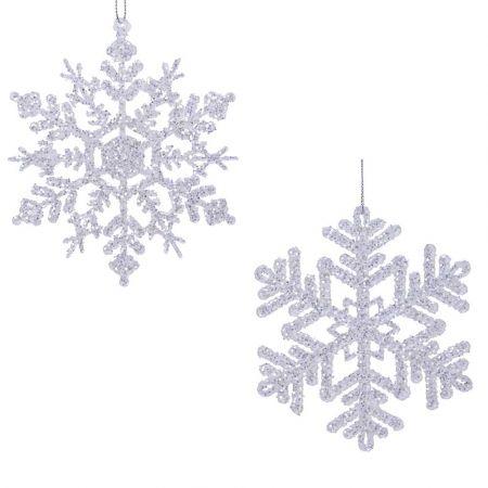 Σετ 2τχ Ακρυλικές Χιονονιφάδες με glitter Ασημί 12cm