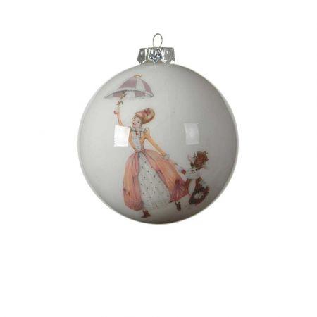 Χριστουγεννιάτικη μπάλα με νεράιδα και κούνελο Λευκή - Ροζ 8cm