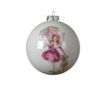 Χριστουγεννιάτικη μπάλα με νεράιδα και ελάφι Λευκή - Ροζ 8cm