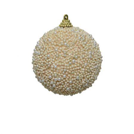 Χριστουγεννιάτικη μπάλα με πέρλες και glitter Σαμπανί 8cm