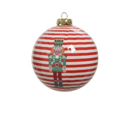 Χριστουγεννιάτικη μπάλα με Καρυοθραύστη Κόκκινη - Λευκή 8cm