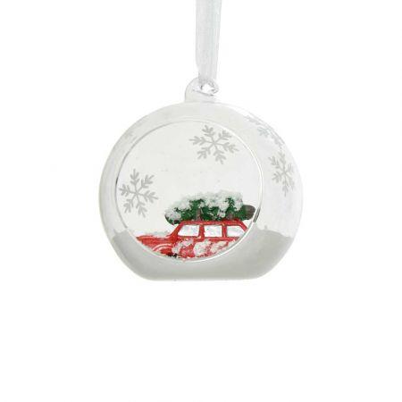 Χριστουγεννιάτικη μπάλα γυάλινη με Κόκκινο αυτοκινητάκι - Διάφανη 8cm