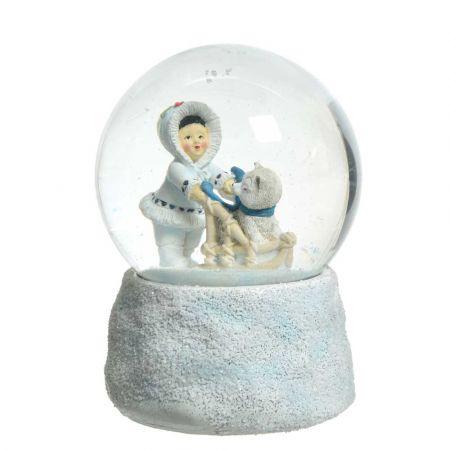 Διακοσμητική Χιονόμπαλα - Waterball με Εσκιμώο και έλκηθρο Λευκή 10x13,5cm