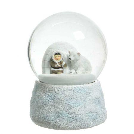 Διακοσμητική Χιονόμπαλα - Waterball με Εσκιμώο και Ιγκλού Λευκή 10x13,5cm