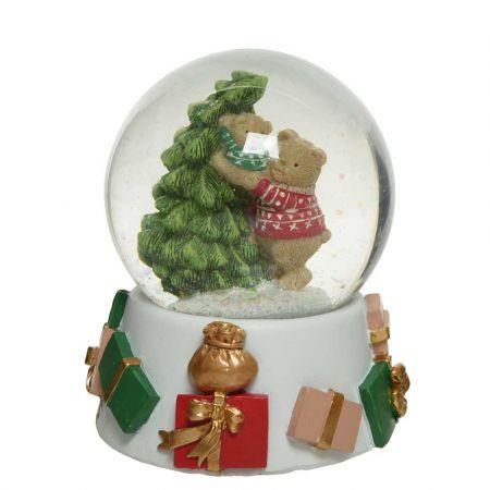 Διακοσμητική Χιονόμπαλα - Waterball με Αρκουδάκι και έλατο Λευκό - Πράσινο - Κόκκινο 11,5x13,5cm (01)