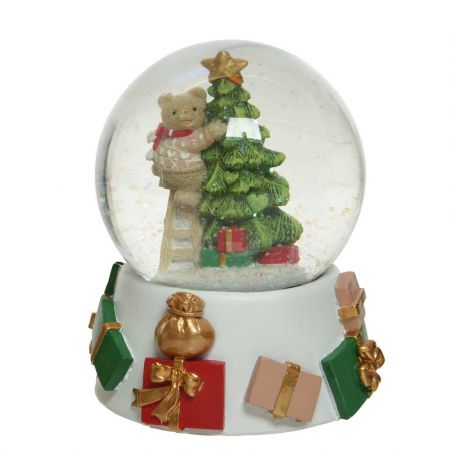 Διακοσμητική Χιονόμπαλα - Waterball με Αρκουδάκι και έλατο Λευκό - Πράσινο - Κόκκινο 11,5x13,5cm (02)