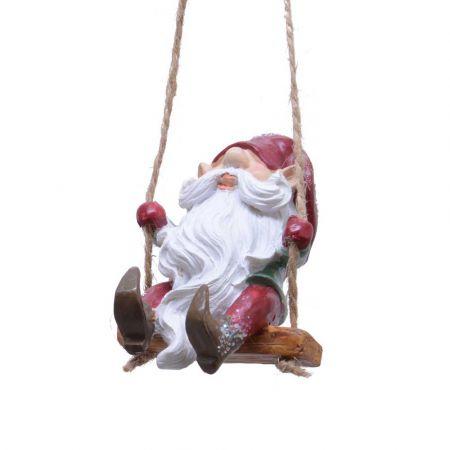 Στολίδι Χριστουγεννιάτικου δέντρου Νάνος σε κούνια Polyresin 5x5x6cm
