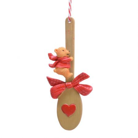 Στολίδι Χριστουγεννιάτικου δέντρου Κουτάλα με Αρκουδάκι Polyresin Καφέ - Κόκκινο