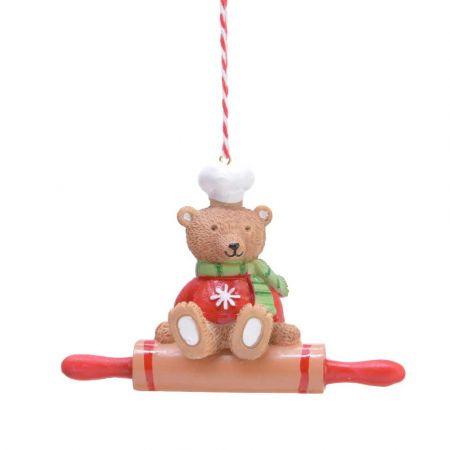 Στολίδι Χριστουγεννιάτικου δέντρου Πλάστης με Αρκουδάκι Polyresin Καφέ - Κόκκινο