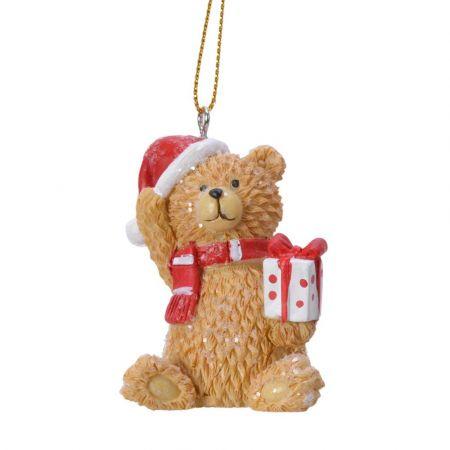 Στολίδι Χριστουγεννιάτικου δέντρου Αρκουδάκι με δώρο Polyresin Καφέ - Κόκκινο - Λευκό 4,5x4,5x6,3cm