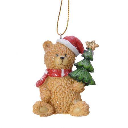 Στολίδι Χριστουγεννιάτικου δέντρου Αρκουδάκι με δεντράκι Polyresin Καφέ - Κόκκινο - Λευκό 4,5x4,5x6,3cm
