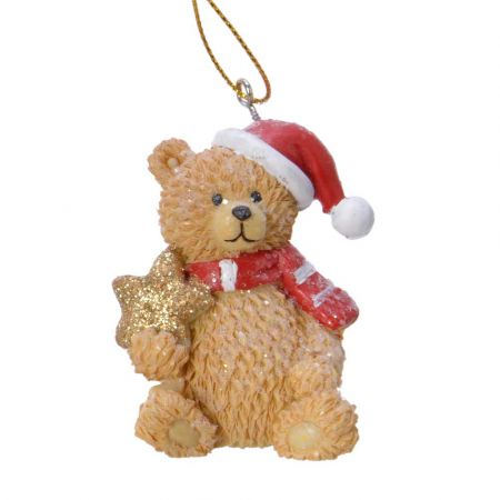 Στολίδι Χριστουγεννιάτικου δέντρου Αρκουδάκι με αστεράκι Polyresin Καφέ - Κόκκινο - Λευκό 4,5x4,5x6,3cm