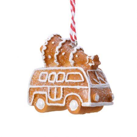 Στολίδι Χριστουγεννιάτικου δέντρου gingerbread Λεωφορείο Καφέ - Λευκό  7x4,5x7,5cm