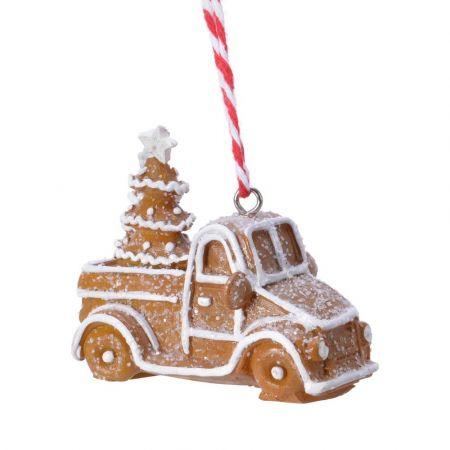 Στολίδι Χριστουγεννιάτικου δέντρου gingerbread Φορτηγάκι Καφέ - Λευκό  7x4,5x7,5cm