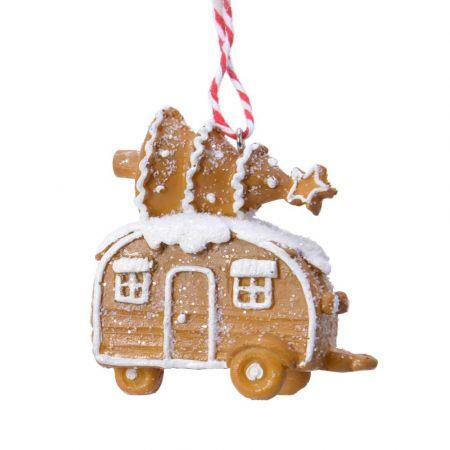 Στολίδι Χριστουγεννιάτικου δέντρου gingerbread Τροχόσπιτο Καφέ - Λευκό 7x4,5x7,5cm