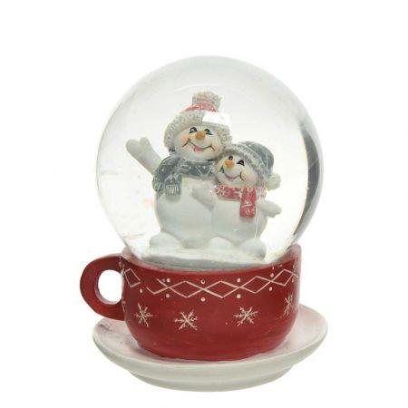 Διακοσμητική Χιονόμπαλα - Waterball φλιτζάνι με χιονάνθρωπους Κόκκινο - Λευκό 11x14,5cm