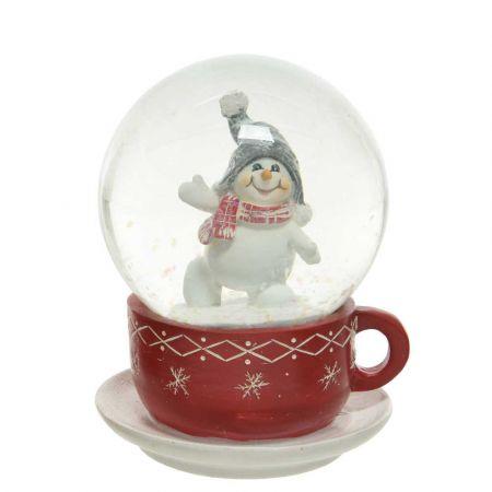 Διακοσμητική Χιονόμπαλα - Waterball φλιτζάνι με χιονάνθρωπο Κόκκινο - Λευκό 11x14,5cm