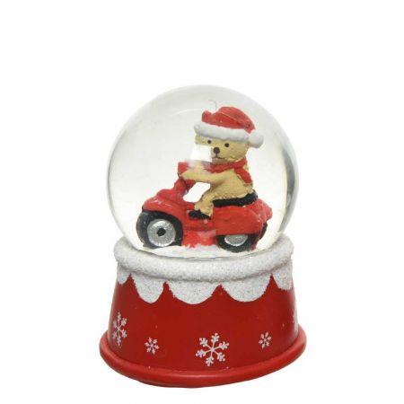 Διακοσμητική Χιονόμπαλα - Waterball με Αρκουδάκι Κόκκινο - Λευκό 7x9,5cm