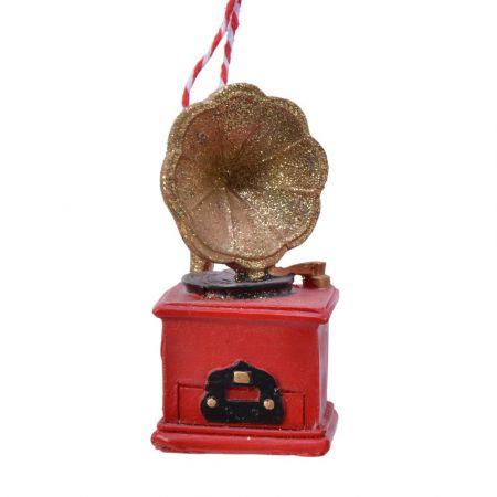 Στολίδι Χριστουγεννιάτικου δέντρου γραμμόφωνο Κόκκινο 7,5x4x6,8cm