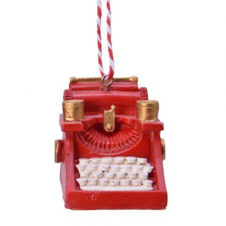 Στολίδι Χριστουγεννιάτικου δέντρου Γραφομηχανή Κόκκινη 7,5x4x6,8cm