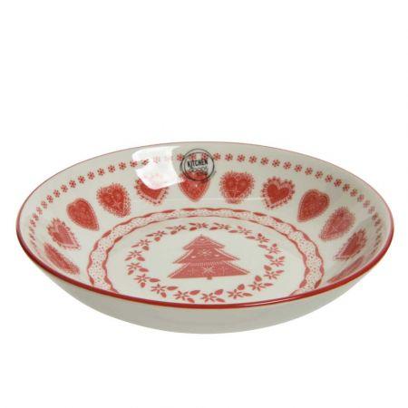 Πιάτο βαθύ πορσελάνη με Χριστουγεννιάτικα σχέδια Κόκκινο - Λευκό 20x4,4cm