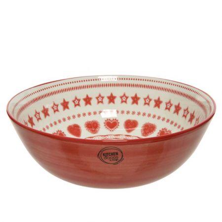 Μπολ πορσελάνη με Χριστουγεννιάτικα σχέδια Κόκκινο - Λευκό 24x9,2cm