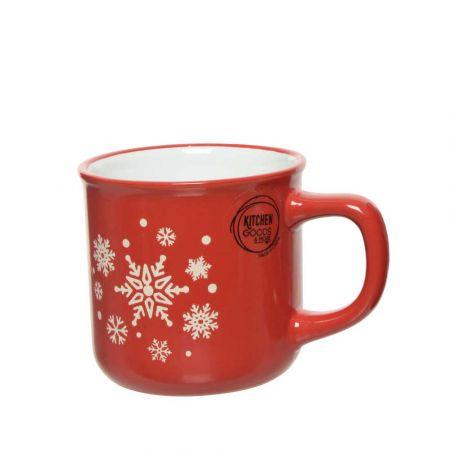 Φλιτζάνι πορσελάνη με Χριστουγεννιάτικα σχέδια χιονονιφάδες Κόκκινο - Λευκό 9,4x7,5x8,6cm