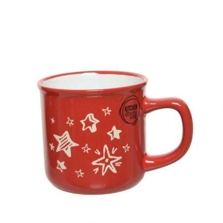 Φλιτζάνι πορσελάνη με Χριστουγεννιάτικα σχέδια αστέρια Κόκκινο - Λευκό 9,4x7,5x8,6cm