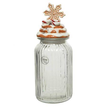 Χριστουγεννιάτικο γυάλινο βάζο με καπάκι Χιονονιφάδα 11x28cm