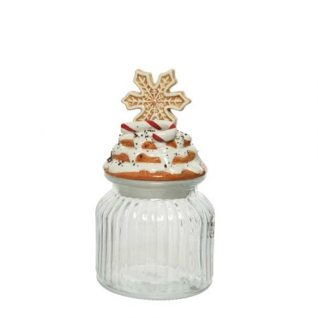 Χριστουγεννιάτικο γυάλινο βάζο με καπάκι Χιονονιφάδα 11x218cm