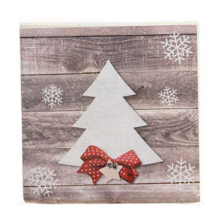 Σετ 20τχ Χριστουγεννιάτικες Χαρτοπετσέτες με Δεντράκι 16,5x16,5cm